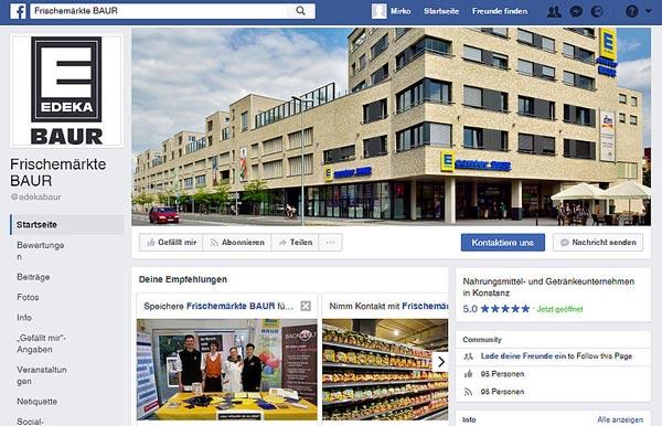 Facebook-Seite der Frischemärkte BAUR